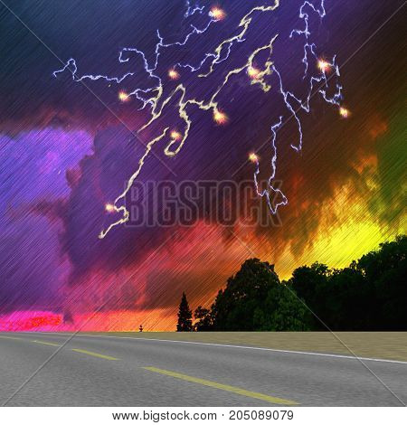 Landscape with road silhouettes of trees storm clouds and lightning. Dramatic dark sky with downpour lightning and dark landscape. 3d illustration