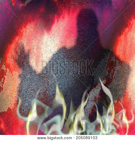 Halloween grunge background with warlock and flames. Red purple and white scary scratched background with smoke fire and silhouette of mysterious person