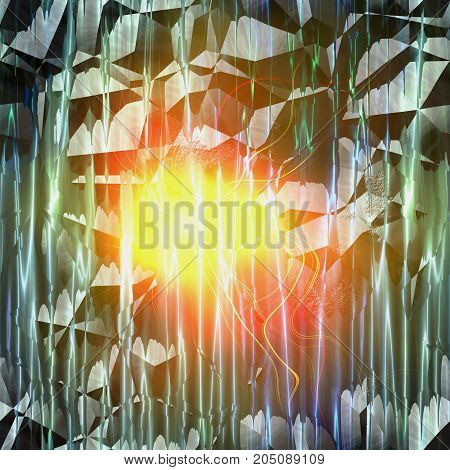 Abstract cracked background with rays and glowing light. Green rays resembling aurora and yellow shining hot object