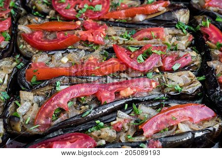 Stuffed eggplants with onions otherwise called imam bayildi a traditional dish of Greece, Turkey and other Middle East countries