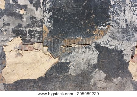 Grunge Texture, Old Vintage Wall, With Black Paint