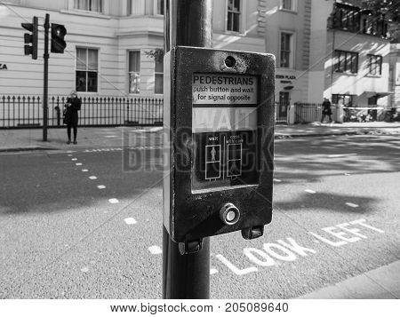 Pedestrian Wait Sign In London Black And White
