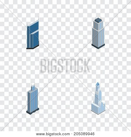 Isometric Construction Set Of Tower, Residential, Cityscape And Other Vector Objects