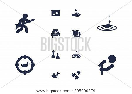 Collection Of Joystick, Photo Camera, Jigsaw And Other Elements.  Set Of 12 Hobbie Icons Set.