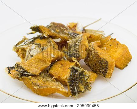 Fried Dried Fish isolated on white background.