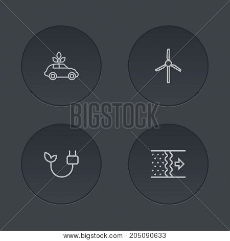 Collection Of Wind Turbine, Electricity, Air And Other Elements.  Set Of 4 Ecology Outline Icons Set.