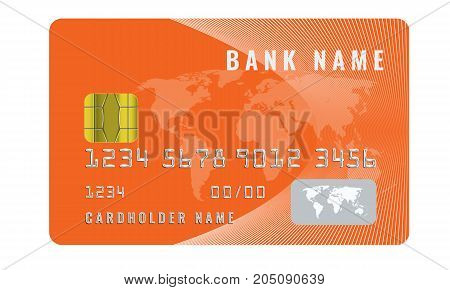 Realistic credit card design template with a chip frontside view mock up. Illustrated vector. Orange color.