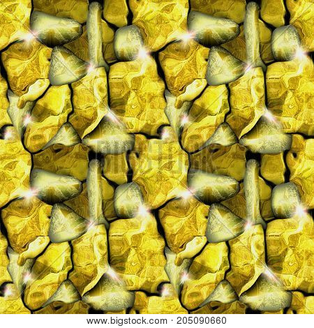 Seamless relief stone pattern with gold nuggets. Gold and yellow cracked ore background with sparkling nuggets. 3d illustration