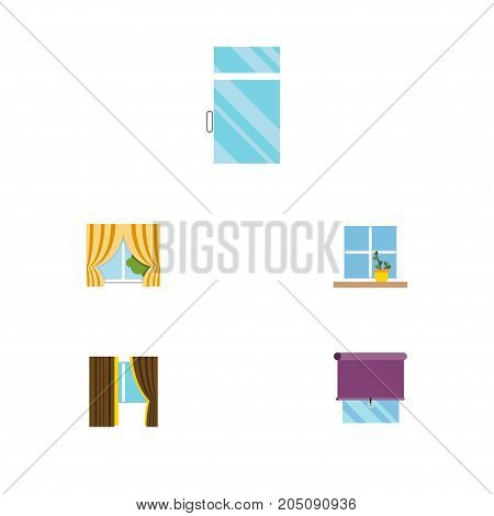 Flat Icon Window Set Of Clean, Flowerpot, Glass Frame And Other Vector Objects