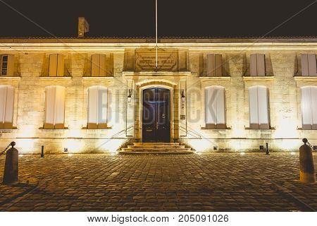 City Hall From The Small French Town Of Saint-emilion. A City Well Known In The World For Its Fine W