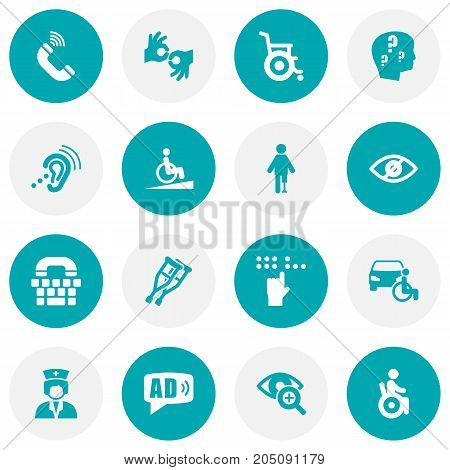 Collection Of Gesture, Artificial Limb, Ramp And Other Elements.  Set Of 16 Accessibility Icons Set.