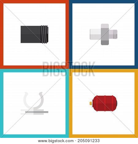 Flat Icon Industry Set Of Container, Tube, Conduit And Other Vector Objects