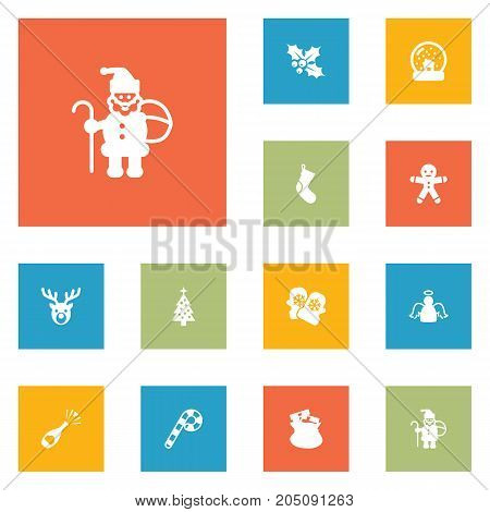 Collection Of Socks, Claus, Lollipop And Other Elements.  Set Of 12 Christmas Icons Set.