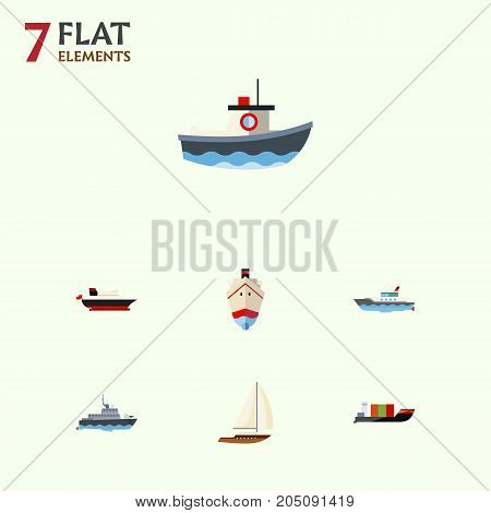 Flat Icon Vessel Set Of Yacht, Sailboat, Ship And Other Vector Objects
