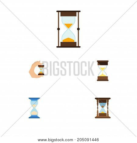 Flat Icon Sandglass Set Of Measurement, Minute Measuring, Waiting And Other Vector Objects