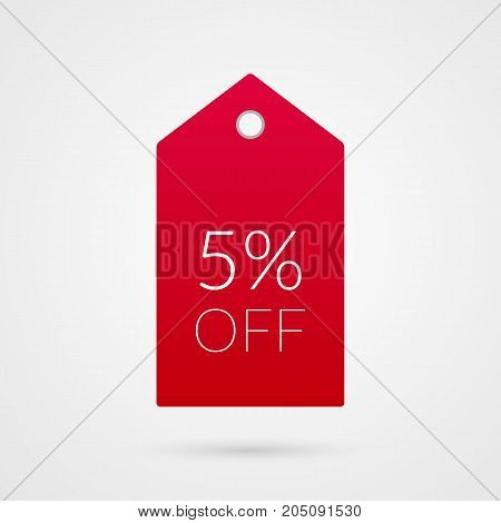 5 percent off shopping tag vector icon. Red and white isolated discount symbol. Illustration sign for sale advertisement marketing project business retail wholesale shop store finance