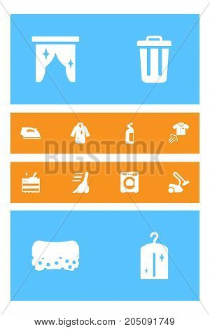 Collection Of Hoover, Machine, Curtain And Other Elements.  Set Of 12 Cleanup Icons Set.