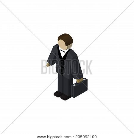 Investor Vector Element Can Be Used For Businessman, Investor, Human Design Concept.  Isolated Businessman Isometric.