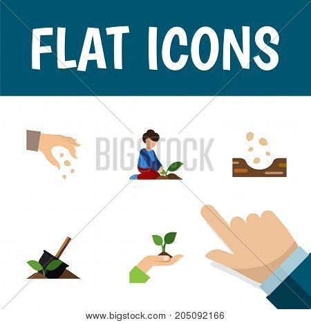 Flat Icon Seed Set Of Seed, Sow, Care And Other Vector Objects