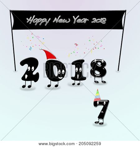 Cartoon of 2018 numerals with text Happy New Year. 3d rendering.