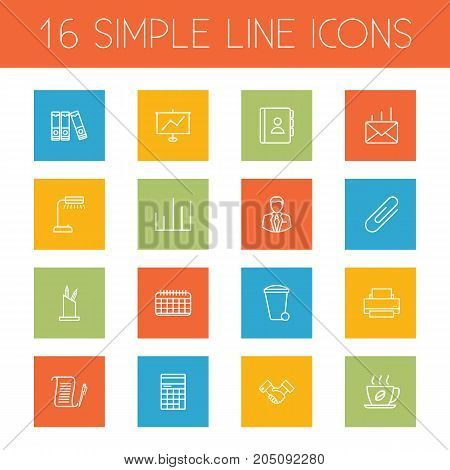 Collection Of Partnership, Telephone Directory, Printing Machine And Other Elements.  Set Of 16 Bureau Outline Icons Set.