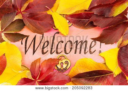 Welcome note and fallen autumn leaves background