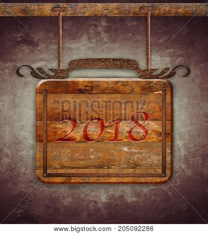 New Year 2017 illustration sign wooden. 3D rendering