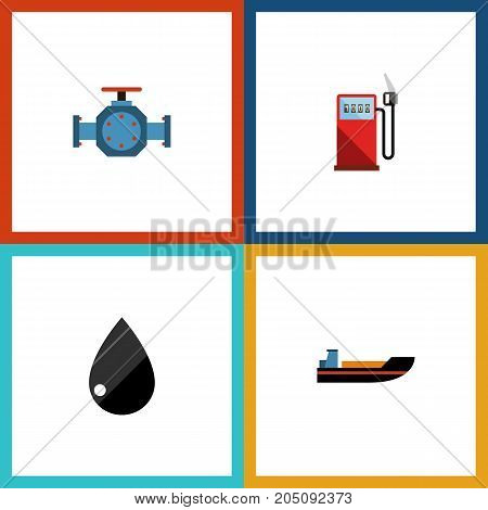 Flat Icon Petrol Set Of Petrol, Droplet, Flange And Other Vector Objects