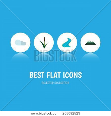 Flat Icon Natural Set Of Tributary, Peak, Cattail And Other Vector Objects