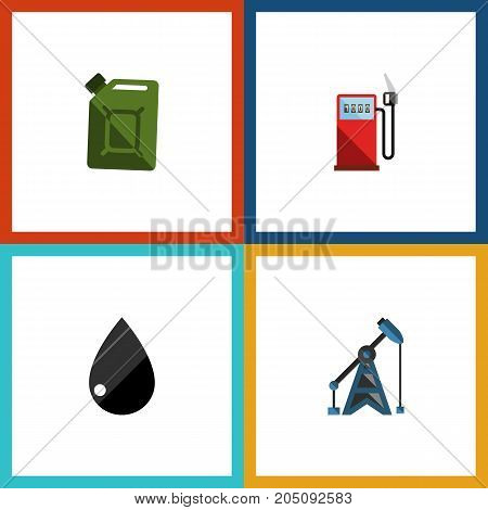Flat Icon Oil Set Of Petrol, Fuel Canister, Droplet And Other Vector Objects