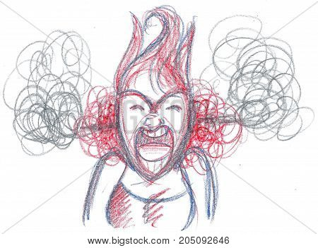 Furious woman yelling out loud concept illustration