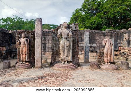 Ruins In Polonnaruwa City Temple Hatadage