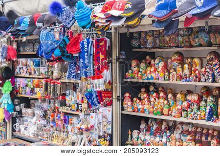 ST. PETERSBURG, RUSSIA - 2017 - Traditional Russian matryoshkas nesting dolls on display in a souvenir shop canal street trade in St. Petersburg, Russia. a set of Souvenirs on the streets of St. Petersburg