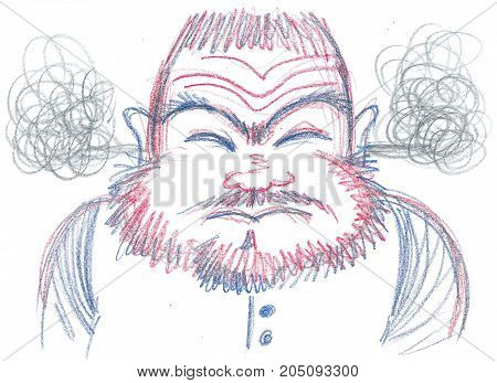 Exploding furious man with beard concept illustration