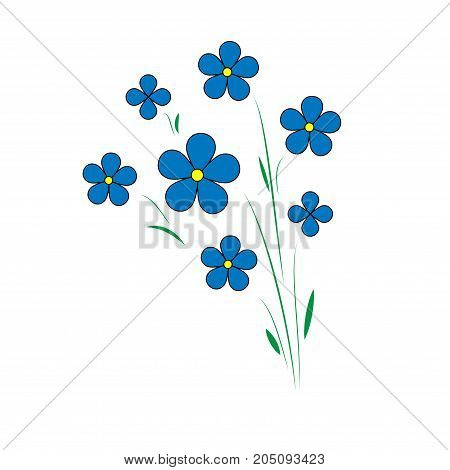 blue flax flowers. Five petals with a yellow center. Agroculture. Vector
