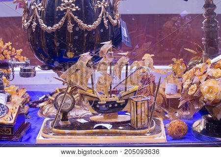 The ship amber, amber flowers on display in a souvenir shop in St. Petersburg. Shopping pavilion
