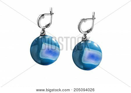 Vintage blue mineral earrings isolated over white