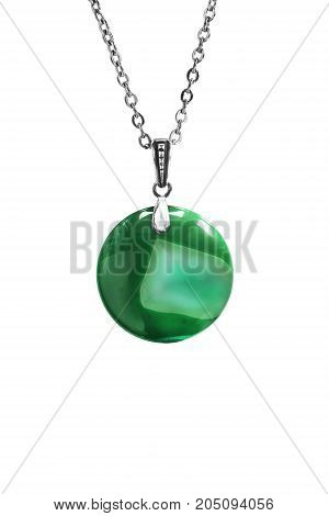 Green mineral round pendant on a chain isolated over white