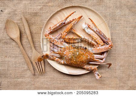Big grilled crab seafood on wood dish