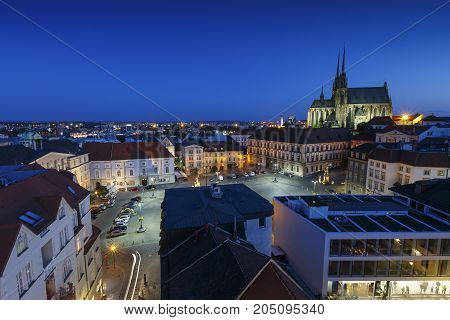 BRNO, CZECH REPUBLIC - AUGUST 23, 2017: Old town of Brno as seen from the town hall tower on August 23, 2017.
