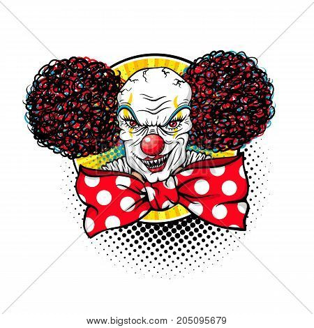 Evil scary clown monster with big red bow tie and wide angry smile. Vector illustration in retro comic pop art style isolated on white background. Halloween object.