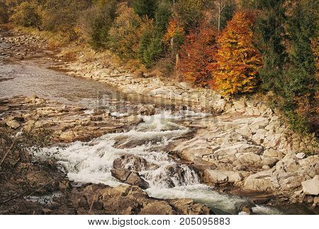 Beautiful Mountain River.Autumn Current water. Tree on the stone. Stream water. water streem landscape
