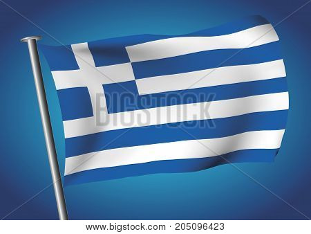 Greece Flag Waving On The Sky Vector