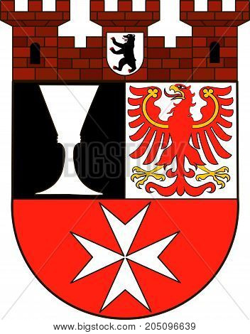 Coat of arms of Neukoelln is the eighth borough of Berlin Germany. Vector illustration from the