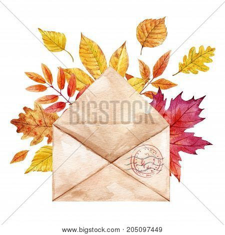Beautiful composition with watercolor envelop with autumn leaves