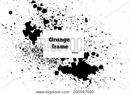 Black paint, ink brush strokes, brushes ink droplets, lines. Dirty artistic design elements, boxes, frames. Grunge frame with space for your text or image. Template space for your text or image.