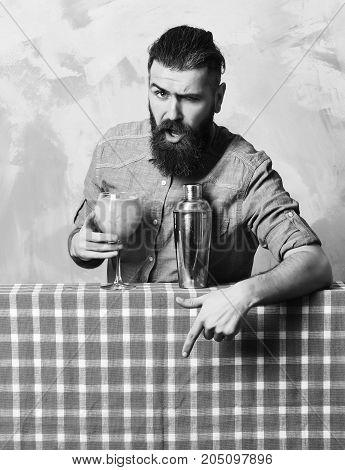 Brutal Caucasian Hipster Doing Tropical Alcohol Fresh Cocktai