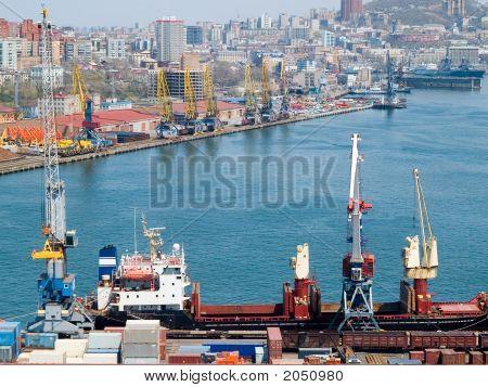 Container Terminal At Russian Port Vladivostok