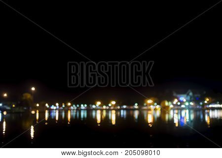 Bokeh lights background of town, city background