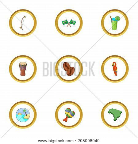Brazilia icons set. Cartoon style set of 9 Brazilia vector icons for web design